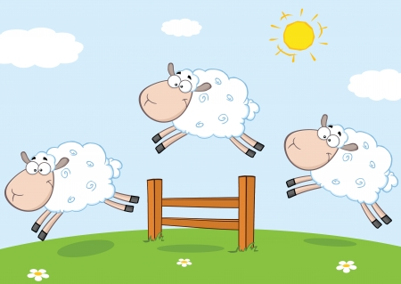 Three Funny Sheep Jumping Over A Fence