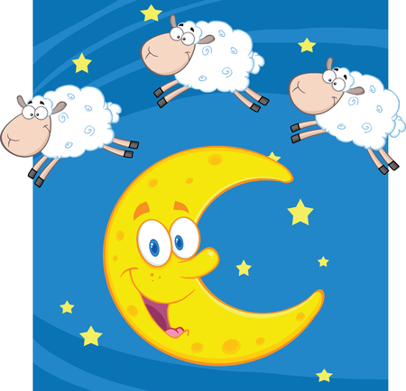 Three Funny Counting Sheep Over A Moon Vector