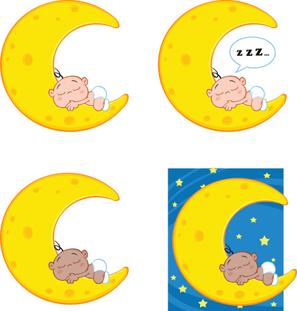 moon: Baby Sleeping on A Moon Cartoon Mascot Characters  Collection Set