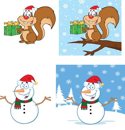 ardilla: Navidad Ardilla y muñeco de nieve de la historieta Caracteres Collection Set Vectores