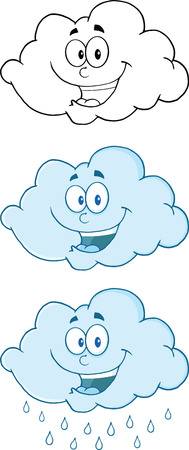 raining: Happy Clouds Raining Cartoon Mascot Characters  Collection Set