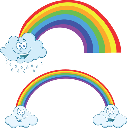 raining: Clouds Raining With Rainbow Cartoon Mascot Characters  Collection Set