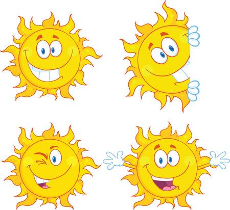 太陽の漫画のマスコット キャラクター コレクション セット  イラスト・ベクター素材