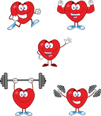 hand with dumbbell: Hearts Cartoon Mascot Characters  Collection Set