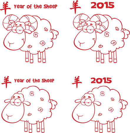 Sheep Cartoon Characters Red Lined  Collection Set Vector
