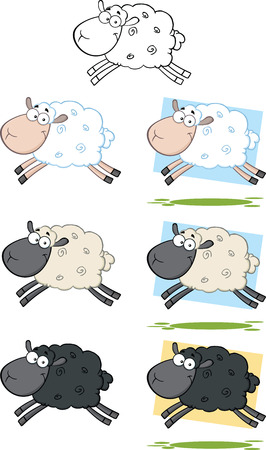 Sheep Cartoon Characters Jumping  Collection Set Illustration