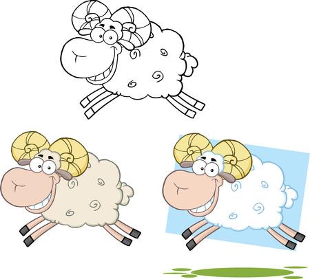lamb cartoon: Ram Sheep Cartoon Characters Jumping  Collection Set Illustration
