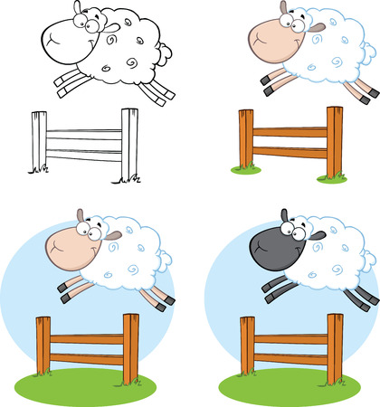 Sheep Cartoon Characters Jumping Over A Fence  Collection Set