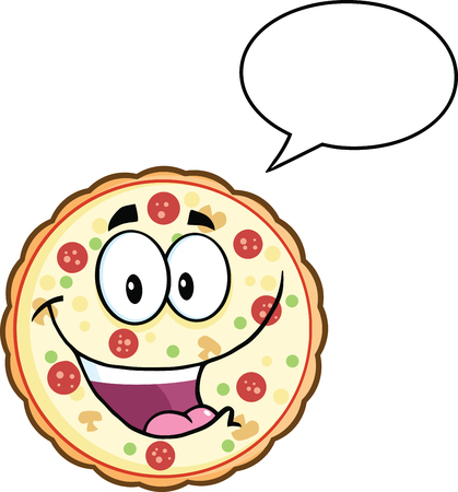 Funny Pizza Cartoon Mascot Character With Speech Bubble  Illustration Isolated on white Ilustrace