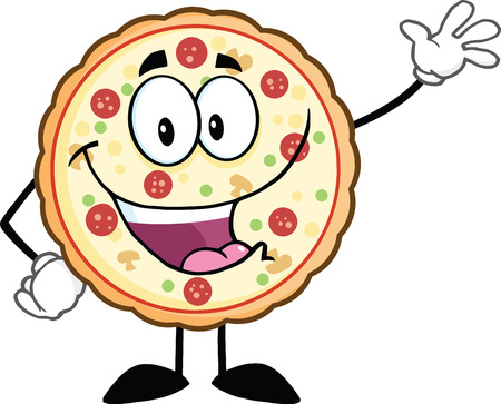 Funny Pizza Cartoon Mascot Character Waving  Illustration Isolated on white