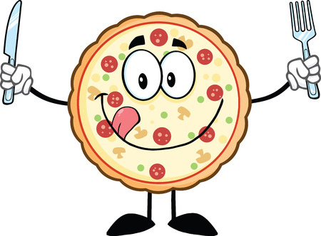 mozzarella cheese: Funny Pizza Cartoon Mascot Character With Knife And Fork  Illustration Isolated on white