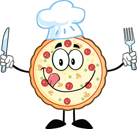 Pizza Chef Cartoon Mascot Character With Knife And Fork  Illustration Isolated on white Vector