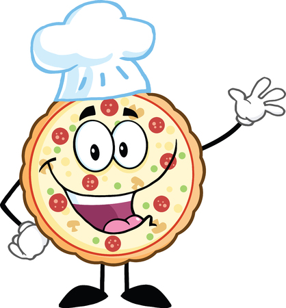 Funny Pizza Chef Cartoon Mascot Character Waving With Speech Bubble  Illustration Isolated on white