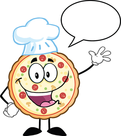 Funny Pizza Chef Cartoon Mascot Character Waving  Illustration Isolated on white