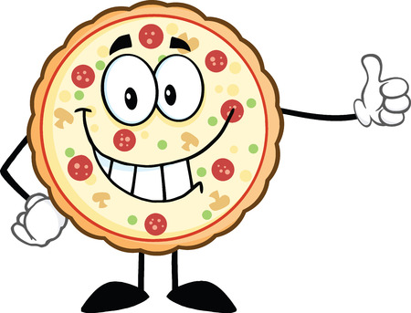 Smiling Pizza Cartoon Mascot Character Giving A Thumb Up  Illustration Isolated on white Vector