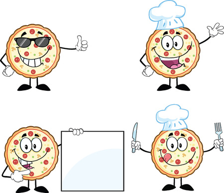 Pizza Cartoon Mascot Character 2  Collection Set Vector