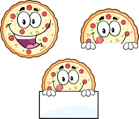 Pizza Cartoon Mascot Character 4  Collection Set Vector