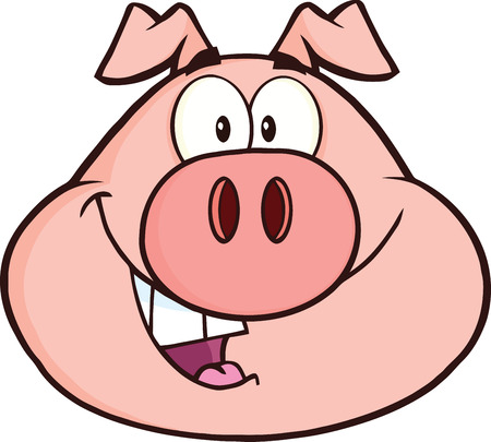 Happy Pig Head Cartoon Mascot Character  Illustration Isolated on white Çizim
