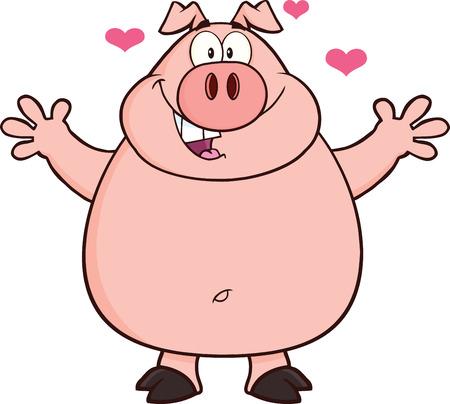 cerdo caricatura: Cerdo feliz de la historieta de la mascota del personaje los brazos abiertos y los corazones ilustración aislado en blanco Vectores