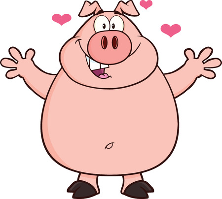 Happy Pig Cartoon Mascot Character Open Arms And Hearts  Illustration Isolated on white