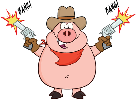 Cowboy Pig Cartoon Character Shooting With Two Guns  Illustration Isolated on white Vector