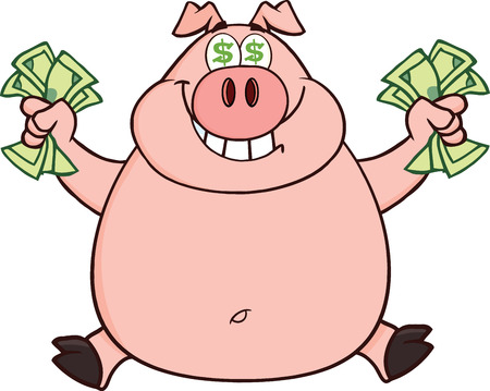 Smiling Rich Pig With Dollar Eyes And Cash Jumping  Illustration Isolated on white Vector