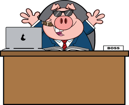 Businessman Pig Cartoon With Sunglasses,Cigar Behind Desk Stock Illustratie