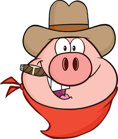Cowboy Pig Head Cartoon Character  Illustration Isolated on white