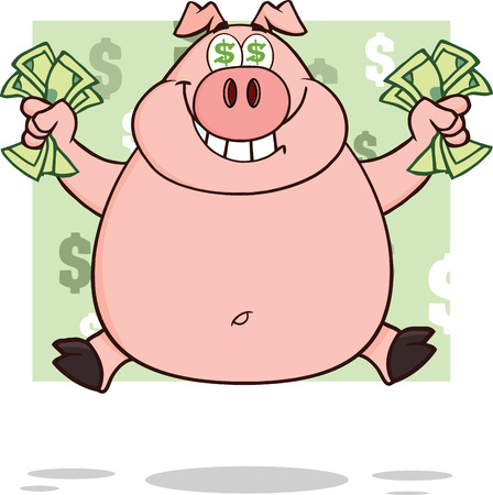 swine: Smiling Rich Pig With Dollar Eyes And Cash Jumping Over Green  Illustration Isolated on white Illustration
