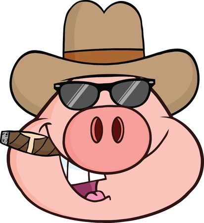 Pig Head Cartoon Character With Sunglasses,Cowboy Hat And Cigar  Illustration Isolated on white
