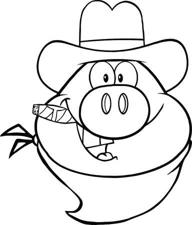 bacon art: Black And White Cowboy Pig Head Cartoon Character  Illustration Isolated on white Illustration