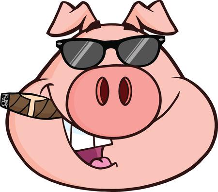 cerdo caricatura: Empresario Cabeza de cerdo con gafas de sol y el cigarro Ilustración aislado en blanco