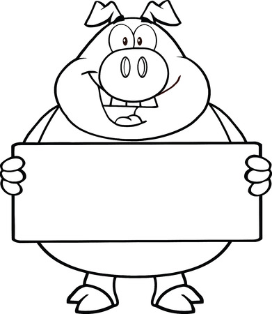 Black And White Pig Cartoon Mascot Character Holding A Banner Vector