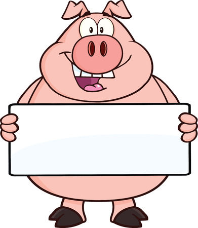 Happy Pig Cartoon Mascot Character Holding A Banner  Vectores