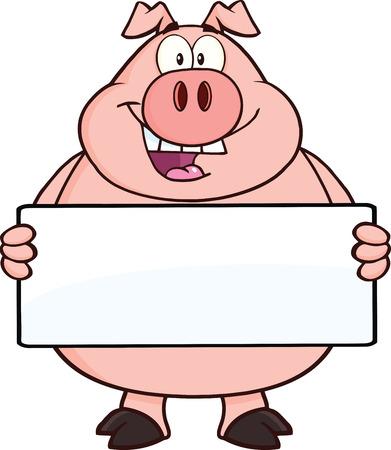 Happy Pig Cartoon Mascot Character Holding A Banner  Illustration