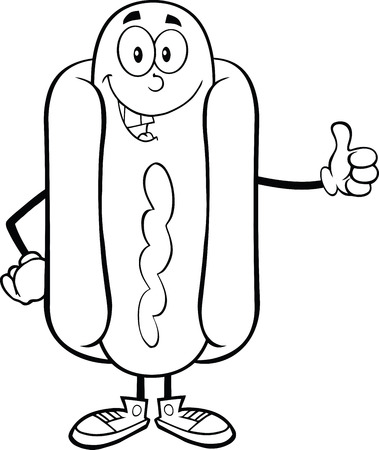 sausage dog: Black And White Hot Dog Cartoon Mascot Character Showing A Thumb Up Illustration
