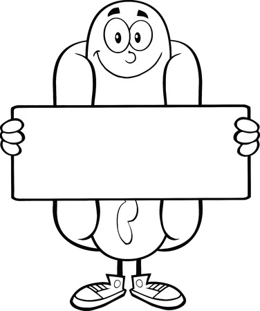 Black And White Hot Dog Cartoon Mascot Character Holding A Banner Vector