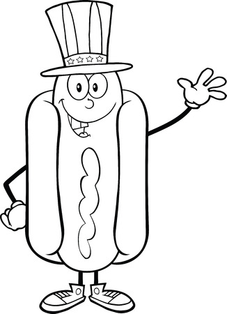 Black And White Hot Dog Cartoon Mascot Character With American Patriotic Hat Waving Vector