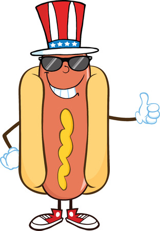 Smiling Hot Dog With Sunglasses And Patriotic Hat Showing A Thumb Up Vector