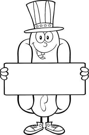 Black And White Hot Dog Cartoon Character With American Patriotic Hat Holding A Banner Vector