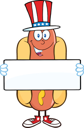 Hot Dog Cartoon Character With American Patriotic Hat Holding A Banner Иллюстрация