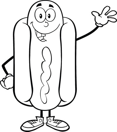 Black And White Happy Hot Dog Cartoon Mascot Character Waving Vector