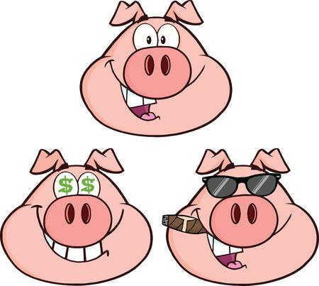 cerdo caricatura: Personajes de dibujos animados de cerdo Head Set 2 Collection