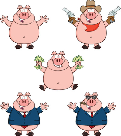 Pig Cartoon Mascot Characters 1  Collection Set Vector