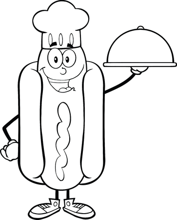 Black And White Happy Hot Dog Chef Cartoon Character With A Cloche Platter  Illustration Isolated on white Vector