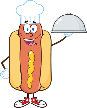 Happy Hot Dog Chef Cartoon Mascot Character With A Cloche Platter  Illustration Isolated on white Vector