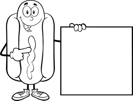 Black And White Happy Hot Dog  Cartoon Character Standing With A Sign  Illustration Isolated on white Vector