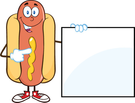 bread rolls: Happy Hot Dog  Cartoon Mascot Character Standing With A Sign  Illustration Isolated on white