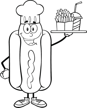Black And White Hot Dog Chef Cartoon Character Holding A Platter With French Fries And A Soda Vector