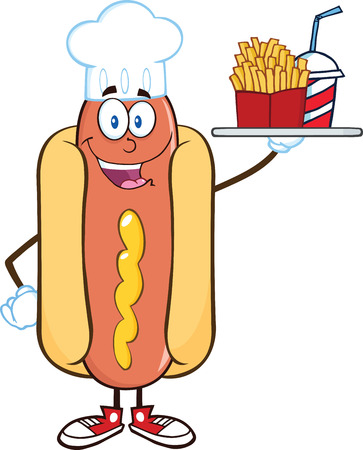 Hot Dog Chef Cartoon Character Holding A Platter With French Fries And A Soda Vector
